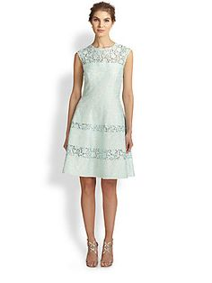 Kay Unger Bonded Lace Flared Dress R4980 saks