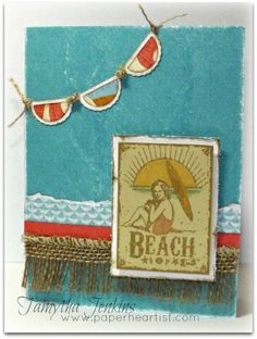 Card created by Tamytha Jenkins of www.paperheartist.com, using Close To My Heart's Surf's Up paper and CTMH Bright Sunshiny Day stamp set.  Scalloped banner created with CTMH Cricut Art Philosophy.
