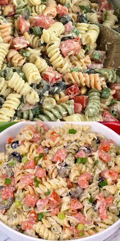 Easy Cold Pasta Salad, Easy Pasta Salad Recipe, Best Pasta Salad, Summer Pasta Salad, Pasta Salad Italian, Healthy Salad Recipes, Cold Pasta Recipes, Healthy Pasta Salad, Greek Pasta