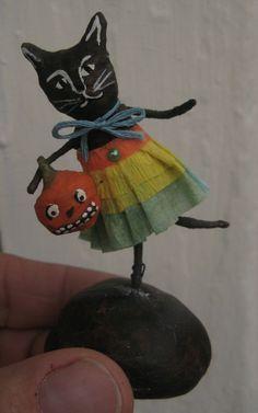 Spun cotton black cat figure by Maria Paula by MRCROWSGARDEN