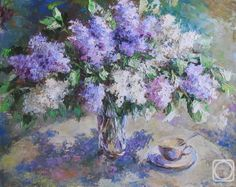 Круглова Светлана. Утренняя сирень Garden Painting, Painting & Drawing, Lavender Cottage, Types Of Art, Painting Inspiration, Still Life, Watercolor, Quilts, Drawings