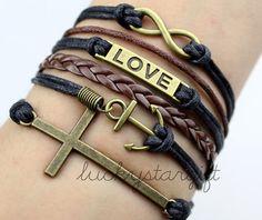 Bronze charm infinite love cool anchor bracelet with cross fashion bracelet spirit's black rope brown leather braided bracelet-Q085 by luckystargift, $6.59