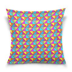Cotton Velvet Decorative Square Throw Pillow Cover Pillowcase Cushion Cover 18x18 InchesColorful Geometric on Both Sides -- To view further for this item, visit the image link.