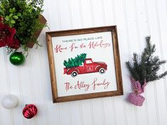 Jump right into your favorite Christmas classic with this personalized red truck Christmas decor sign! There is no place like home for the holidays! This hand lettered Christmas sign brings a bright pop of merry cheer to entry ways, kitchens, living rooms and hallways! It also makes a fabulous