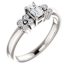 0.25 Ct Emerald Ring 14k White Gold – Goldia.com