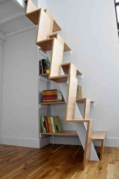 escalier bois astucieux et compact