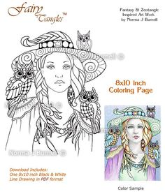 Witchy & Friends - Fairy Tangles Adult Coloring Page Halloween Coloring Sheet by Norma J Burnell Zentangle Witch and Owl Witches Owls