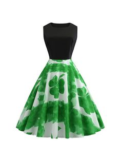 ad28954eb DYMADE St. Patrick's Day Women's Dress Sleeveless Clover A-line Swing Dress