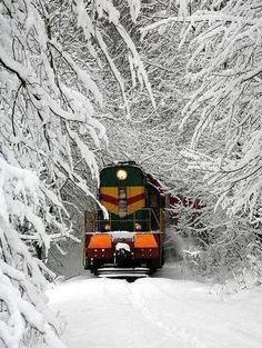 I have actually been on a train in conditions like that. In about going from NYC to Portsmouth, NH by train we hit a blizzard and the train had to stop. We were out in the forest until late the next day when a rescue train came. Train Pictures, Cool Pictures, Funny Pictures, Locomotive, Old Trains, Winter Magic, Winter Fairy, Winter Scenery, Snow Scenes