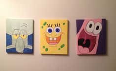 Some more of my paintings for Gabe's bathroom. Super easy and cheap to make. Frame and paint from dollarama! #spongebob #squidward #patrick