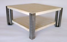 Angle Iron Gale Coffee Table with White Wash wood by Nyendesigns