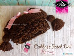 Cabbage patch doll Hat, Cabbage patch crocheted wig/hat