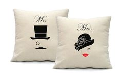 Mr and Mrs Pillow Cover  Set of 2 for His and Her  by smiletee