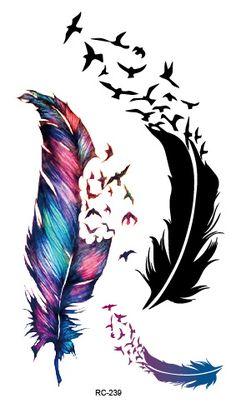 RC2239 Körper Kunst Wasser Transfer-Fake Tattoo Aufkleber Tattoo Aufkleber Blau Schwarz Wind Geblasen Federn Taty Tattoo