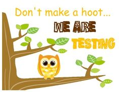 Free Owl-Themed Testing sign can be posted outside classroom door during testing.