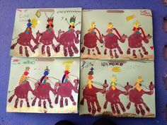 Tapa álbum primer trimestre. Trabajo plástica reyes magos. Portada navidad. Dibujar camellos reyes magos con las manos