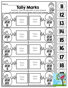 Tally Up Your Marshmallows! Count the tally marks, cut and