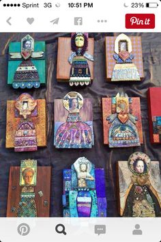 Mixed media--polymer clay, ephemera, found objects, etc--art doll plaques.Mika on PCDaily Polymer Clay Kunst, Polymer Clay Creations, Paper Dolls, Art Dolls, Matchbox Art, Found Art, Paperclay, Altered Tins, Little Girls