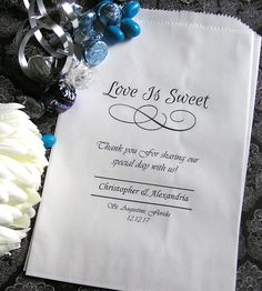 Personalized Wedding Paper Candy Bags - Love Is Sweet Script