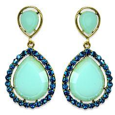 Aiza Mint Green Traditional Teardrop Earrings available on www.vmfashion.com