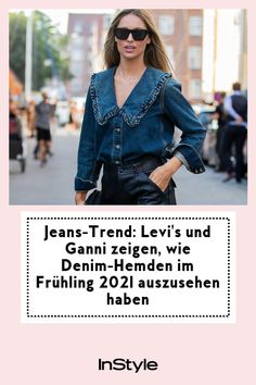 Ganni und Levi's haben sich zusammen getan und die coolsten Jeans-Trends für den Frühling 2021 gelauncht. Darunter: ein geniales Denim-Hemd. #instyle #instylegermany #jeanstrends #frühling #ganni #levis