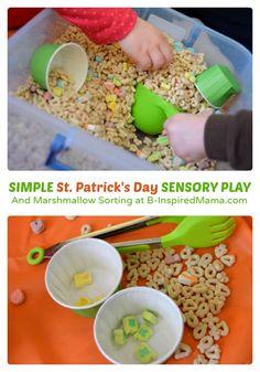 Simple St. Patrick's Day Sensory Play with Cereal at B-Inspired Mama - #sensoryplay #sensory #binspiredmama #stpatricksday #kbn
