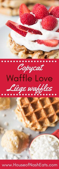 These Copycat Waffle Love Liège Waffles are made from a rich, yeast-based brioche dough with Belgian pearl sugar kneaded into it to create a crunchy, caramelized sweetness around the individual pockets and ridges of each waffle.  Top them with Biscoff coo