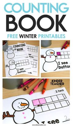 Free printable counting book for numbers 1 - 10. Students show the number by drawing buttons on the snowman, then make an equal set using cubes. At the bottom of the page they write the number to make a sentence.
