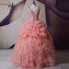 SoDigne Organza Wedding Dress Masquerade Peach Crystals Pink Wedding Gown Plus size Ball Gown Queen Bridal Ruched Newest Coming #Affiliate