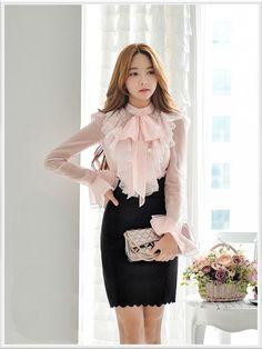 Morpheus Boutique - New Ruffle Collar Chiffon Long Sleeve Dress Shirt Blouse And Skirt, Dress Skirt, Dress Up, Long Sleeve Chiffon Dress, Long Sleeve Shirt Dress, Beautiful Blouses, Beautiful Dresses, Blouse Styles, Blouse Designs