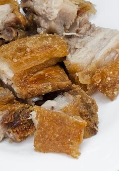 """LECHON KAWALI ~~~ this recipe for deep-fried pork belly is shared with us from the book, """"kulinarya: a guidebook to philippine cuisine"""". traditionally, lechon refers to a spit-roasted whole suckling pig, but it is often used to also mean this home-cooked version of deep-fried or roasted pork belly. [Philippines] [junbelen]"""