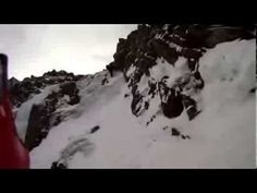 Frightening POV footage of an ice climbing fall