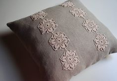 $36 linen and crochet lace pillow