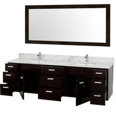 Wyndham Collection Encore 78 in. Vanity in Espresso with Marble Vanity Top in Carrara White and White Porcelain Under-Mounted Square Sink-WCS400078ESCW - The Home Depot
