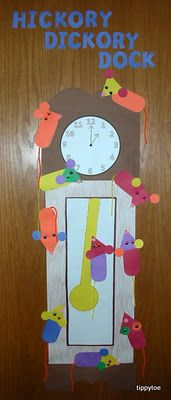 These Hickory Dickory Dock Mice from Tippytoe Crafts have to be the most engaging craft project to go along with the twelve verses of Hickory Dickory Dock my students sing as they learn to tell time. If anyone is interested, I put together simple rhyming verses to help the children practice reading a traditional clock while concurrently practicing rhyming skills.