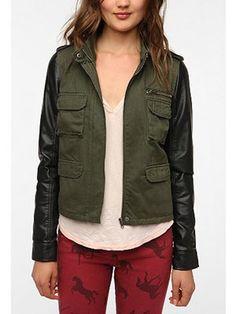 Leather Sleeve Army Jacket