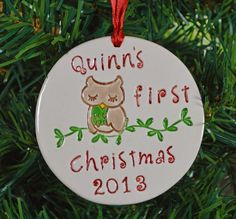 Baby's first christmas ornament - personalized owl baby's 1st Christmas ornament - custom made to order - christmas tree ornament (14.95 USD) by DLpottery