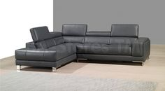 A990 Grey Premium Leather Sectional Sofa with Left Chaise by J&M