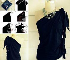 16 Interesting Shirt Cutting Ideas Umgestaltete Shirts, Sewing Shirts, Sexy Shirts, T-shirt Refashion, Diy Clothes Refashion, Diy Fashion, Ideias Fashion, Work Fashion, Unique Fashion