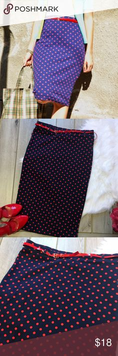{•H&M Polka Dot Pencil Skirt•} NWT! H&M midi polka dot pencil skirt. Colors are Navy blue and red. Has a skinny belt with it. Size L. No slits. Material is a knit, soft and comfy! Has some stretch, but not a whole lot. Waist 16.5 inches Hips 18 inches Length 28 inches  From a clean and smoke free home! {•Posh Ambassador  {•300+ Sales H&M Skirts Pencil