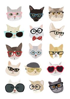 "A lovely, humorous print of Cats. A charming print featuring lots of different breeds of cats wearing glasses! An image with lots of warmth and humor, cool vibrant colors and attitude. Features 15 cats all wearing glasses, originally drawn by Hanna Melin. Get this as a gift for a a cat lover, it will make them smile! Defenitely ""Cool Cats""! made from: This is a digital print, printed on nice thick 220 gsm warm white cartridge. The print is drawn by illustrator Hanna Melin, and signed on the…"