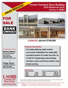 4235 Westbrook Drive Aurora, IL 60504 Size sqft. 12,904 SF Building Category Retail Trans. Type Sale Company  LM Commercial Real Esta