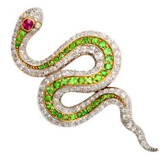 American Victorian Jeweled Snake Brooch | From a unique collection of vintage brooches at https://www.1stdibs.com/jewelry/brooches/brooches/
