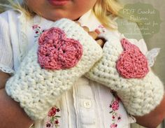 Crochet Pattern: The Kendall Mitts -Toddler, Child, & Adult Sizes- heart, Valentine's Day, chunky, easy, fingerless on Etsy, $4.00
