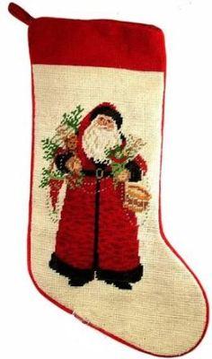 Lynn Haney Old World Santa Needlepoint Christmas Stocking