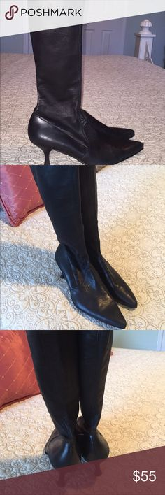 ✨SALE ✨Leather boots Black leather boots. Made in Spain. Sits right below knee, fitted around calf,  1 1/2 in heel. Great with skirts & dresses 💖🌟 wear at toes that can be easily repaired Shoes Heeled Boots