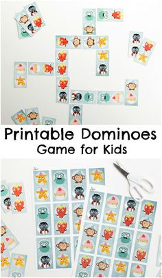 Printable dominoes game for kids...The set includes six fun characters : Sunny the Giraffe, Thomas L. Worthington, Coco Loco Sam, Kenny Ken Ken, Ruby Jane and Altug Wooptang Print out the set, and glue each piece onto card to make a longer lasting set of dominoes.