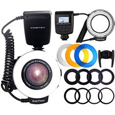 Ring Flash FOSITAN 48 LEDS Macro Ring Flash Light for Nikon Canon Macro Photography Light with LCD Display Power Control 4 Flash Diffusers 8 Adapter Rings for Nikon Canon DSLR Camera *** Visit the image link for more details.