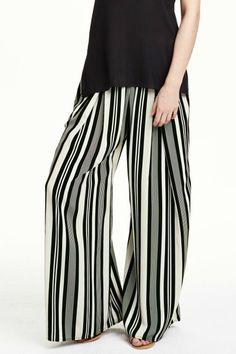 Color Block Stripe Wide Leg Pants