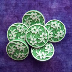 vintage shank buttons Swirling Lilies on verdant by brizelsupplies, $4.95